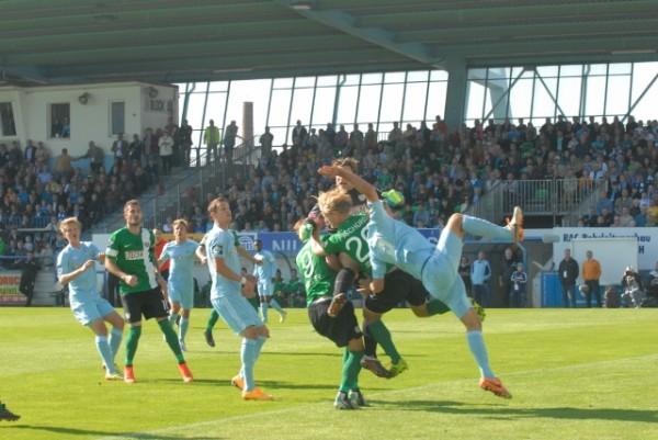 Im vergangenen Jahr konnten die Himmelblauen sowohl im Heim- als auch im Auswärtsspiel gegen Preußen Münster jeweils drei Punkte holen. Zuhause reichte dem CFC damals ein 1:0  zum Sieg. Foto: Karl Wagner/Archiv