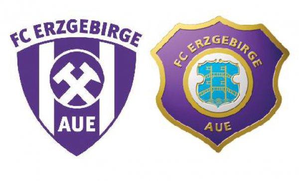 Das neuen Wappen (links) soll das aktuelle Wappen ablösen, erinnert an der Logo der BSG Wismut in den Jahren 1963 bis 1990.