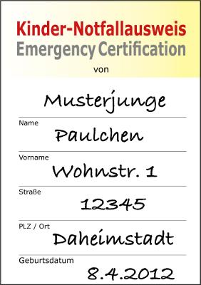 Damit Hilfe da ist, wenn sie benötigt wird: Kostenloser Kindernotfallausweis mit nützlichen Informationen für die Unfallretter. Foto: Hans Walter Schäfer