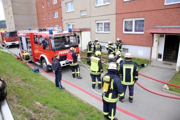 Zu einem Brand nach Explosion wurden die Feuerwehren Schwarzenberg und Beierfeld-Grünhain nach Schwarzenberg gerufen. Fotos: Daniel Unger