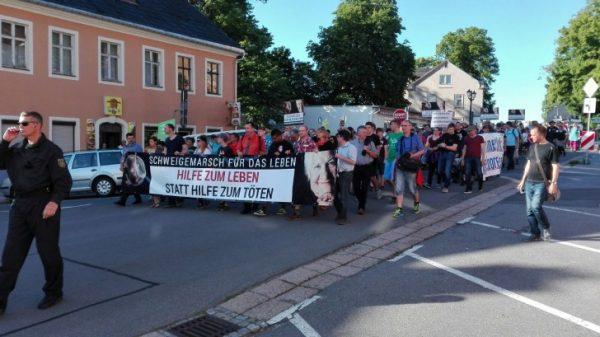 650 Menschen beteiligten sich am Schweigemarsch für das Leben. Foto: André Kaiser