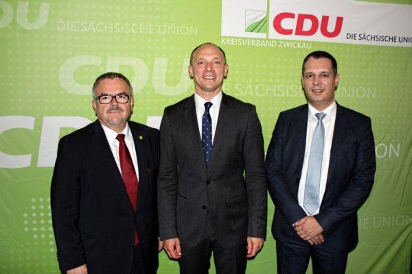 Marco Wanderwitz mit Erzgebirgslandrat Frank Vogel, Kreisvorsitzender CDU Erzgebirge, und Rico Anton MdL. Foto: Chris Bergau