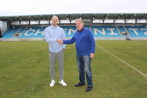 Gemeinsam mit dem neuen Sportdirektor Armin Causevic (links) stellte sich Michael Reichardt (rechts) offiziell als Geschäftsführer des CFC vor. Foto: Judith Hauße